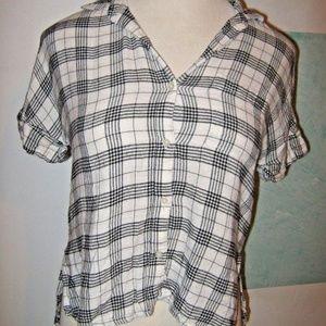 Off White Black Plaid Short Sleeve Button Shirt XS